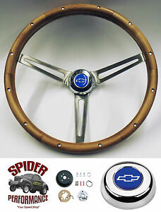 1958 1963 Impala Bel Air Steering Wheel Blue Bowtie 15 Muscle Car Walnut