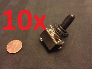 10x Waterproof Boot On off Spst Metal Toggle Switch Ac 125v 4a Dc 1 2 Hole C15