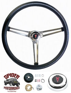 Fits All 1967 1968 Pontiac Steering Wheel 15 Stainless Black Grant