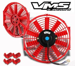 Universal 12 Red Electric Radiator Slim Fan With Installation Kit