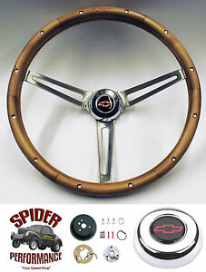 1967 1968 Impala Caprice Steering Wheel Red Bowtie 15 Muscle Car Walnut
