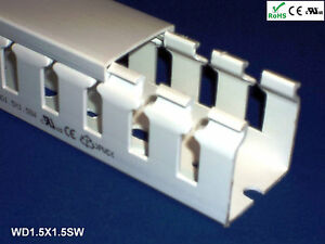 18 New 1 5 x1 5 x2m Wide Finger Open Slot Wiring Cable Raceway Duct Pvc White
