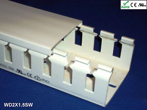 12 New 2 x1 5 x2m Wide Finger Open Slot Wire Cable Raceway Duct Cover pvc white