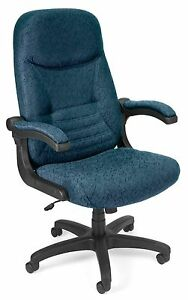 Navy Color Fabric Executive Office Chair With Mobilearms