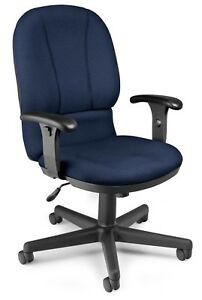 Navy Color Fabric Posture Series Office Task Chair With Adjustable Arms