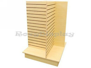 Slatwall Unit 4 Way Maple Color Knock Down Display Store Fixture sc 4 wing m
