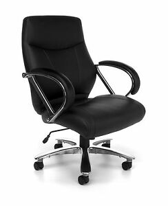 Big Tall 500 Lbs Capacity Black Leather Mid Back Executive Office Desk Chair