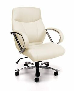 Big Tall 500 Lbs Capacity Cream Leather Mid Back Executive Office Desk Chair