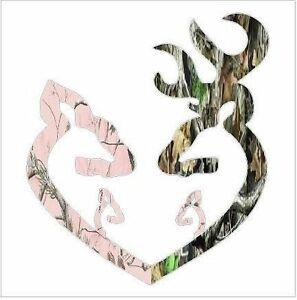 Browning Style Camo Reg Buck And Pink Doe Heart With 2 Baby Doe S Sticker