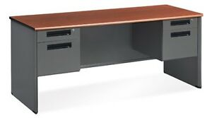 Executive Series Office Desk W Double Pedestal Panel End Credenza Cherry Color