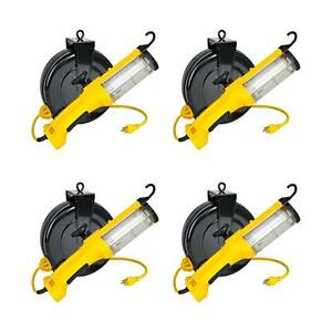 Case Of 4 26watt Fluorescent Retractable Reel Auto Work Light W Outlet 5030a Q