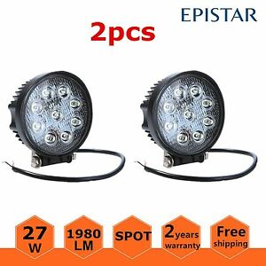 2x 27w Led Work Light Round Spot Beam Off Road Driving Fog Lamp Truck Atv Boat