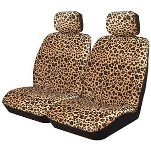 Leopard Animal Print Seat Covers 30 50 Deploy Safe Airbag Front Pair