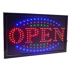 Large 3 Color High Visible Led Light Business Open Sign Chain Switch 21 5 x13