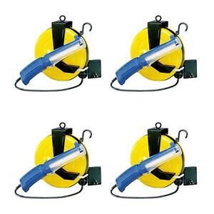 Case Of 4 Fluorescent Retractable Cord Reel Work Trouble Light 5000 40pl Ss