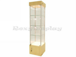 18 Maple Tower Showcase Display Store Fixture Assembled W Lights wl18m