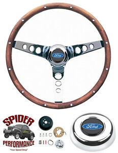 1965 1969 Fairlane Galaxy 500 T bird Steering Wheel Blue Oval 13 1 2 Walnut
