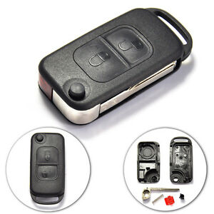 New Uncut Flip Remote Key Shell For Mercedes Benz 2 Button With Hu64 Key Blade