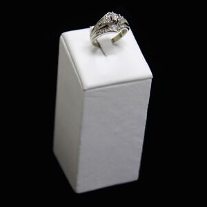 Ring Display Single Large Tower White Faux Leather