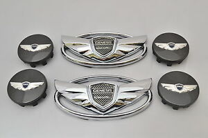 2011 2016 Fits Hyundai Genesis Coupe Chrome Wing Emblem Wheel Caps