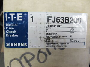 Ite siemens Fj63b200 3 Pole 200 Amp 600 Volt Circuit Breaker New In Box