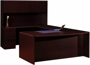 Cherryman Amber Bowfront U shape Executive Office Desk With Hutch 2 Pedestals