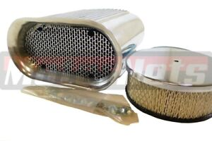 Polished Hilborn Finned Aluminum Hood Scoop Kit Air Cleaner 4 Barrel Carb Ratrod