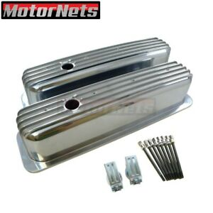 Sbc Finned Polish Aluminum Centerbolt Tall Valve Cover 305 350 Small Block Chevy