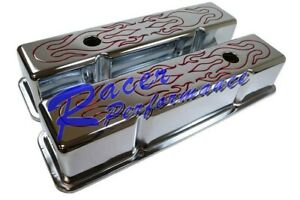 Small Block Chevy Sbc Chrome Steel Tall Red Flamed Valve Cover 283 327 350 400