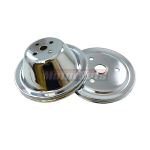 Chrome Steel Pulley Set Sbc Chevy 283 350 Short Water Pump Single 1 Groove Swp