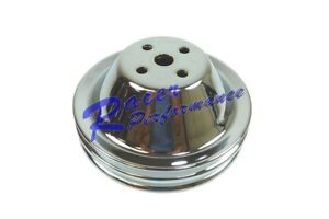 Chrome Bbc Big Block Chevy Short Water Pump Pulley Double 2 Groove Upper 65 68