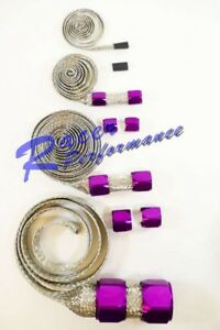 Universal Stainless Braided Hose Cover Kit W Purple Clamp Covers Hot Rod V8