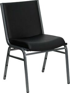 Heavy Duty Black Vinyl Stackable Office Guest Chair Reception Area Side Chair