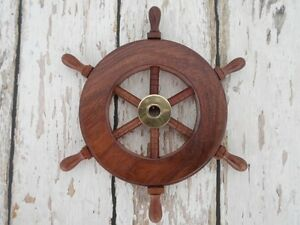 6 Wood Brass Ship Wheel Small Steering Helm Nautical Captains Wall Decor
