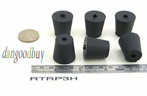 6 Rubber Stoppers Laboratory Stoppers Size 3 With Single Hole corks