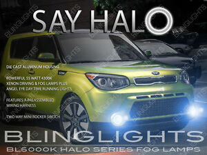 White Halo Fog Lamps Angel Eye Driving Lights Kit Pair For 2014 2019 Kia Soul