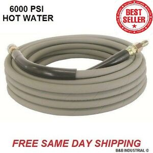 Non Marking Gray Pressure Washer Hose 50 W o Couplers 6000 Psi Hot Water