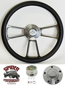 1958 1963 Impala Biscayne Bel Air Steering Wheel Bowtie 14 Polished Billet