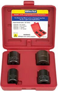 4 Pc Lug Nut Remover Socket Set 3 4 13 16 1 1 1 8 1 2 Dr Ken Tools 30254