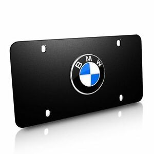Bmw Logo Black Stainless Steel License Plate 82121470313