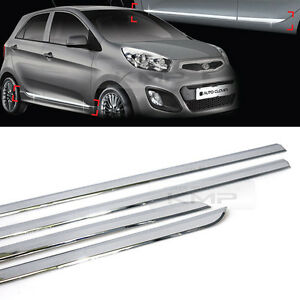Chrome Side Skirt Accent Door Under Step Molding Trim For Kia 2011 2017 Picanto