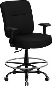 Big Tall 400 Lbs Capacity Black Fabric Office Chair W arms Drafting Stool