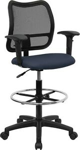 Mid back Mesh Office Computer Chair In Navy Blue Fabric W arms Drafting Stool