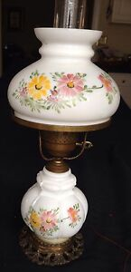 Antique Electrified Handpainted Oil Lamp With Matching Shade 20 Beautiful