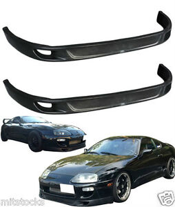 2 X 93 98 Toyota Supra Trd V2 Style Front Pu Bumper Spoiler Add On Lip Black