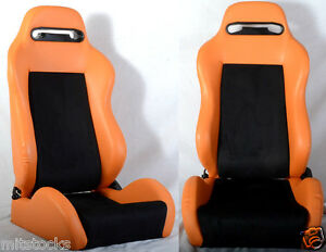 2 Orange Black Racing Seats Reclinable Sliders All Bmw New