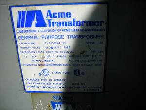 Acme Electric T3 533411s Transformer 480 Volt