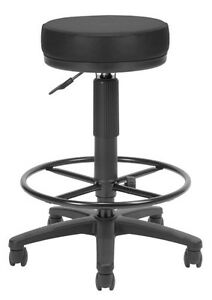 Anti bacterial Utility Medical Office Stool In Black Vinyl W drafting Stool
