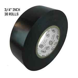 Tapessupply 30 Rolls Black Electrical Tape 3 4 X 60 Ft Fast Free Shipping