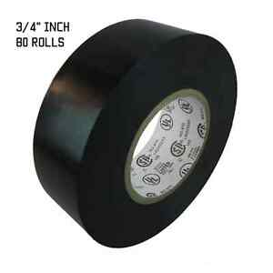 Tapessupply 80 Rolls Black Electrical Tape 3 4 X 60 Ft Fast Free Shipping